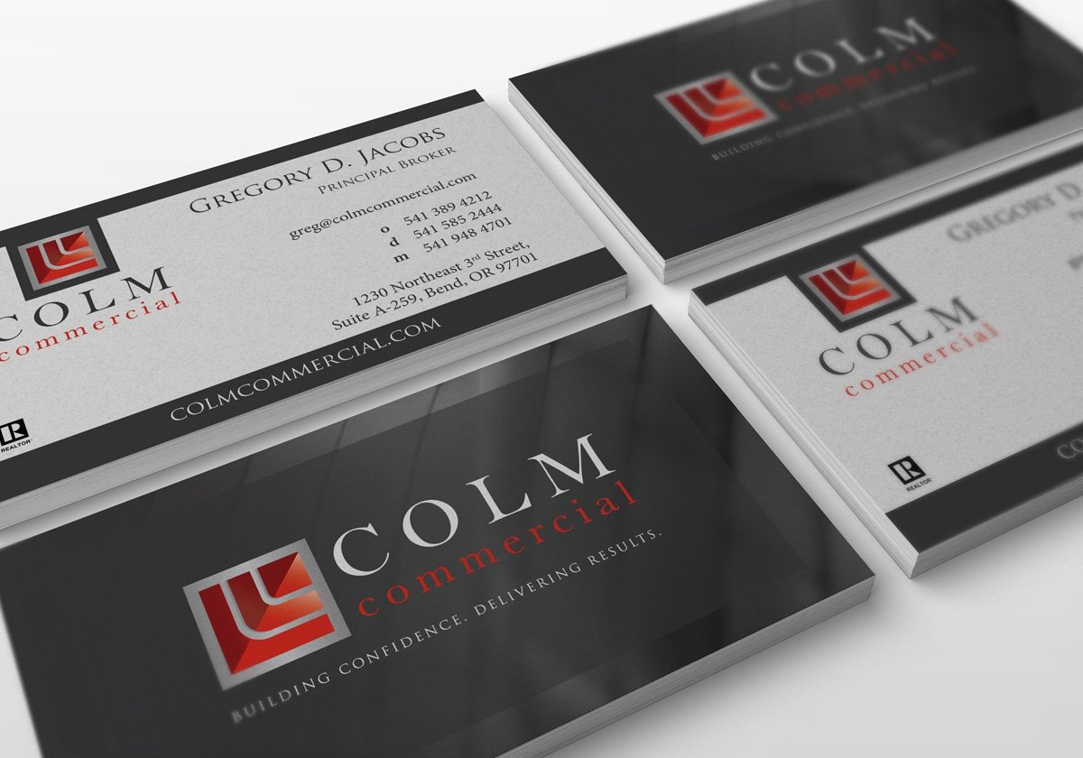 Colm commercial businesscards branding web design and digital written by savysupport colourmoves