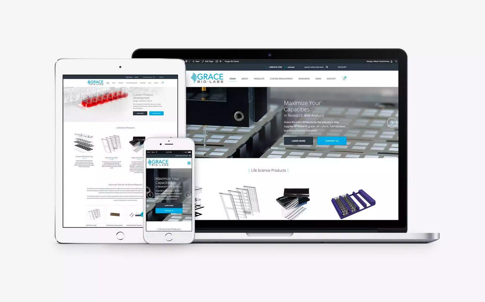 Grace Bio Labs web design