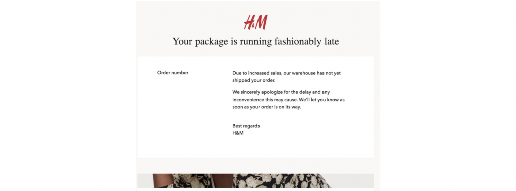 Brand messaging email from H&M clothing company